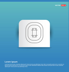 cricket stadium icon - blue sticker button vector image