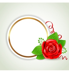 Decorative round banner with red rose vector