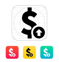 Dollar exchange rate up icon vector image