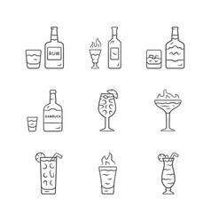 Drinks linear icons set rum absinwhiskey vector