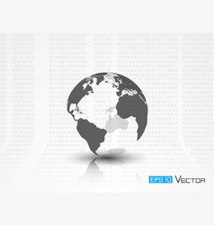 earth silhouette with binary code vector image vector image