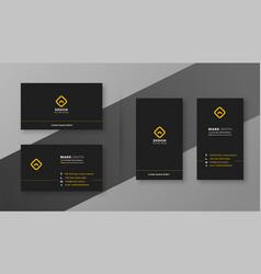 Elegant clean and simple dark black business card vector