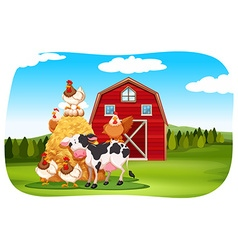 Farm animals in the field vector