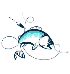 Fish and hook on fishing line silhouette vector