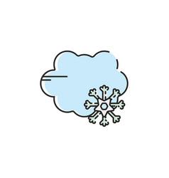 flat color snow rain icon vector image
