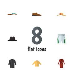 Flat garment set of male footware banyan trunks vector