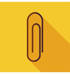 Flat Paper Clip with long Shadow vector image