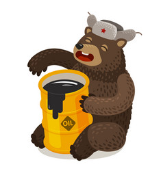 Funny russian bear with barrel of oil cartoon vector