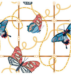 golden chains and butterflies seamless pattern vector image