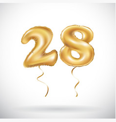 Golden number 28 twenty eight metallic balloon vector