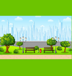 green city park with town buildings vector image