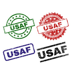 Grunge textured usaf seal stamps vector