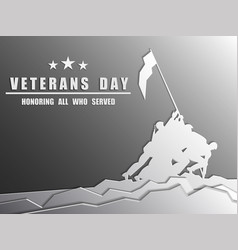 Happy veterans day greeting card with usa flag vector