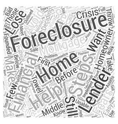 Homeowners steps to help you avoid foreclosure vector