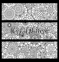 horizontal flyers with tribal pattern vector image