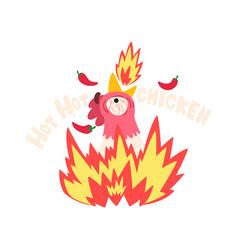 Hot spicy fire chicken creative logo design vector