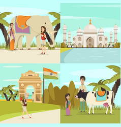 India 2x2 design concept set vector