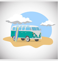 journey on van with surfboard on the beach flat vector image