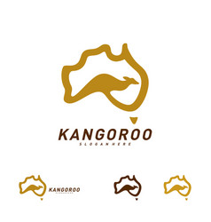 kangaroo and australia map logo design template vector image