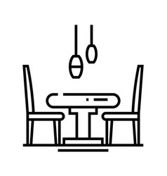 Kitchen table line icon concept sign outline vector