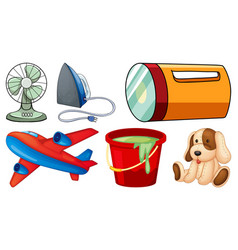 Large set household items on white background vector