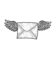 letter message wings sketch vector image