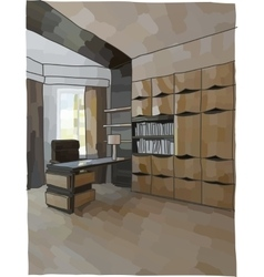 Luxury cabinet interior vector image