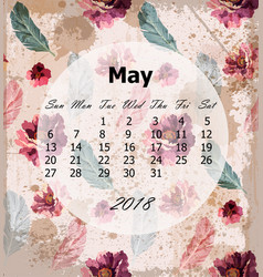 may calendar page vintage rose backgrounds vector image