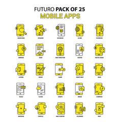 Mobile apps icon set yellow futuro latest design vector