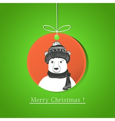 Modern flat card with doodle bear on Christmas vector