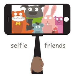 Monopod Selfie with cartoon animals vector