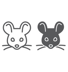 Mouse line and glyph icon animal and zoo rat vector