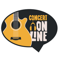music poster with a guitar for online concert vector image