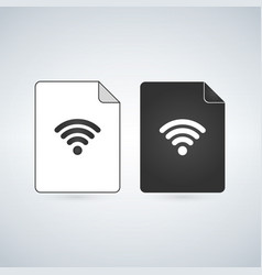 network document file icon with wifi sign flat vector image