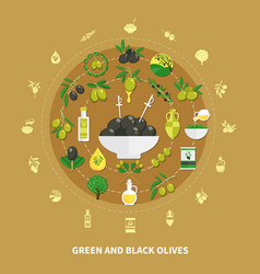 olives round composition vector image