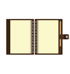 open spiral notebook paper and wood pencil vector image
