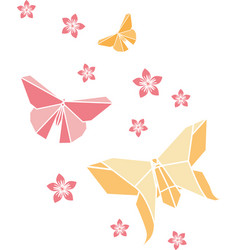 origami butterfly and blossoms vector image