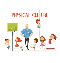Physical culture lesson retro cartoon vector