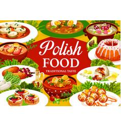 Polish cuisine food poster restaurant menu cover vector
