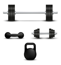realistic barbell dumbbell sports kettlebell set vector image
