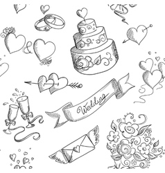 Seamless background with wedding design elements vector image