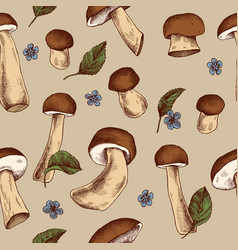 seamless pattern mushrooms hand drawn vector image