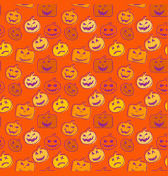 seamless pattern orange background with halloween vector image