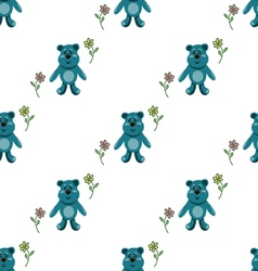 seamless pattern with blue teddy bears vector image