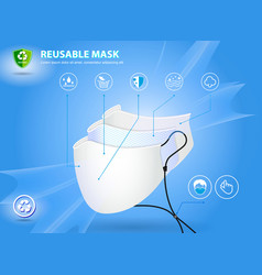 set of realistic three layer surgical mask vector image
