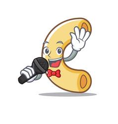 Singing macaroni mascot cartoon style vector