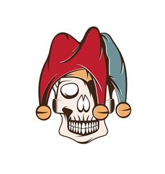 Skull in jester cap design template vector
