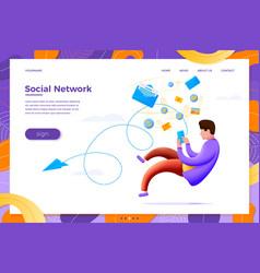Social network man flowing in content vector