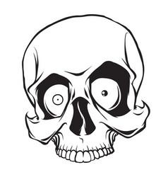 surprised cartoon skull vector image