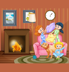 Three girls and dog in living room vector